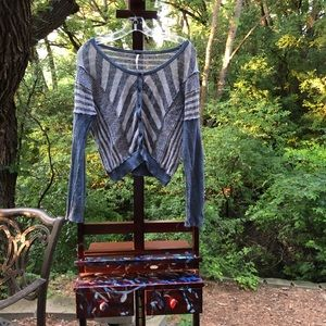 Free People Blue Stripped Cardigan Size S